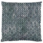 HEXAGON1 BLACK MARBLE & ICE CRYSTALS Large Cushion Case (One Side)