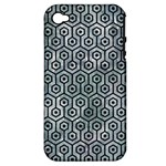 HEXAGON1 BLACK MARBLE & ICE CRYSTALS Apple iPhone 4/4S Hardshell Case (PC+Silicone)
