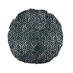 HEXAGON1 BLACK MARBLE & ICE CRYSTALS Standard 15  Premium Round Cushions