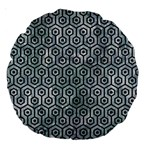 HEXAGON1 BLACK MARBLE & ICE CRYSTALS Large 18  Premium Round Cushions