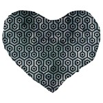 HEXAGON1 BLACK MARBLE & ICE CRYSTALS Large 19  Premium Heart Shape Cushions