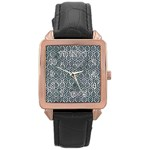HEXAGON1 BLACK MARBLE & ICE CRYSTALS Rose Gold Leather Watch