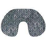 HEXAGON1 BLACK MARBLE & ICE CRYSTALS Travel Neck Pillows
