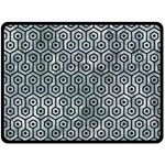 HEXAGON1 BLACK MARBLE & ICE CRYSTALS Double Sided Fleece Blanket (Large)