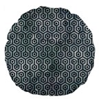 HEXAGON1 BLACK MARBLE & ICE CRYSTALS Large 18  Premium Flano Round Cushions