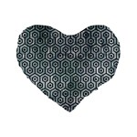 HEXAGON1 BLACK MARBLE & ICE CRYSTALS Standard 16  Premium Flano Heart Shape Cushions