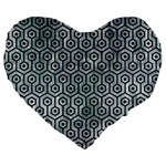 HEXAGON1 BLACK MARBLE & ICE CRYSTALS Large 19  Premium Flano Heart Shape Cushions
