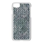 HEXAGON1 BLACK MARBLE & ICE CRYSTALS Apple iPhone 7 Seamless Case (White)