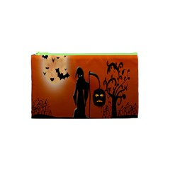 Halloween Sinister Night Moon Bats Cosmetic Bag (xs) by Alisyart