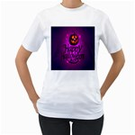 Happy Ghost Halloween Women s T-Shirt (White) (Two Sided)