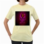 Happy Ghost Halloween Women s Yellow T-Shirt