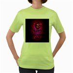 Happy Ghost Halloween Women s Green T-Shirt