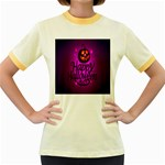 Happy Ghost Halloween Women s Fitted Ringer T-Shirts