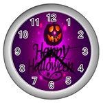 Happy Ghost Halloween Wall Clocks (Silver)