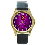 Happy Ghost Halloween Round Gold Metal Watch