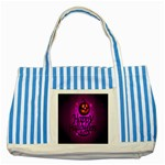 Happy Ghost Halloween Striped Blue Tote Bag