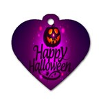 Happy Ghost Halloween Dog Tag Heart (Two Sides)