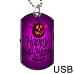 Happy Ghost Halloween Dog Tag USB Flash (One Side)