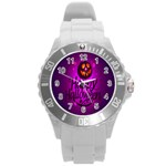 Happy Ghost Halloween Round Plastic Sport Watch (L)