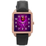 Happy Ghost Halloween Rose Gold Leather Watch