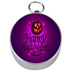 Happy Ghost Halloween Silver Compasses