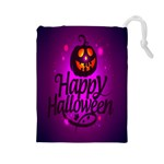 Happy Ghost Halloween Drawstring Pouches (Large)