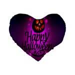 Happy Ghost Halloween Standard 16  Premium Flano Heart Shape Cushions