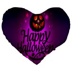 Happy Ghost Halloween Large 19  Premium Flano Heart Shape Cushions