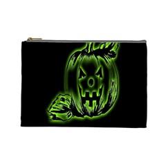 Pumpkin Black Halloween Neon Green Face Mask Smile Cosmetic Bag (large)  by Alisyart