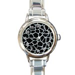 SKIN1 BLACK MARBLE & ICE CRYSTALS Round Italian Charm Watch