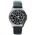SKIN1 BLACK MARBLE & ICE CRYSTALS Round Metal Watch