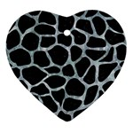 SKIN1 BLACK MARBLE & ICE CRYSTALS Ornament (Heart)