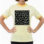 SKIN1 BLACK MARBLE & ICE CRYSTALS Women s Fitted Ringer T-Shirts