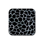 SKIN1 BLACK MARBLE & ICE CRYSTALS Rubber Coaster (Square)