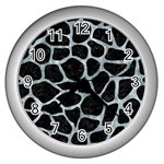 SKIN1 BLACK MARBLE & ICE CRYSTALS Wall Clocks (Silver)