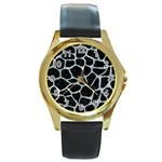 SKIN1 BLACK MARBLE & ICE CRYSTALS Round Gold Metal Watch