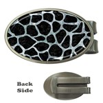 SKIN1 BLACK MARBLE & ICE CRYSTALS Money Clips (Oval)