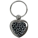 SKIN1 BLACK MARBLE & ICE CRYSTALS Key Chains (Heart)