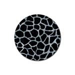 SKIN1 BLACK MARBLE & ICE CRYSTALS Rubber Coaster (Round)