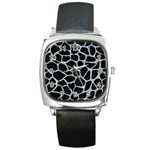 SKIN1 BLACK MARBLE & ICE CRYSTALS Square Metal Watch