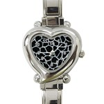 SKIN1 BLACK MARBLE & ICE CRYSTALS Heart Italian Charm Watch