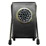 SKIN1 BLACK MARBLE & ICE CRYSTALS Pen Holder Desk Clocks