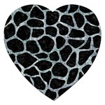 SKIN1 BLACK MARBLE & ICE CRYSTALS Jigsaw Puzzle (Heart)