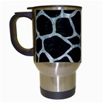 SKIN1 BLACK MARBLE & ICE CRYSTALS Travel Mugs (White)