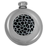 SKIN1 BLACK MARBLE & ICE CRYSTALS Round Hip Flask (5 oz)