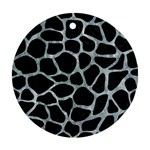 SKIN1 BLACK MARBLE & ICE CRYSTALS Round Ornament (Two Sides)