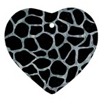 SKIN1 BLACK MARBLE & ICE CRYSTALS Heart Ornament (Two Sides)