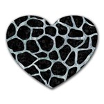 SKIN1 BLACK MARBLE & ICE CRYSTALS Heart Mousepads