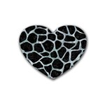 SKIN1 BLACK MARBLE & ICE CRYSTALS Rubber Coaster (Heart)