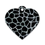 SKIN1 BLACK MARBLE & ICE CRYSTALS Dog Tag Heart (Two Sides)